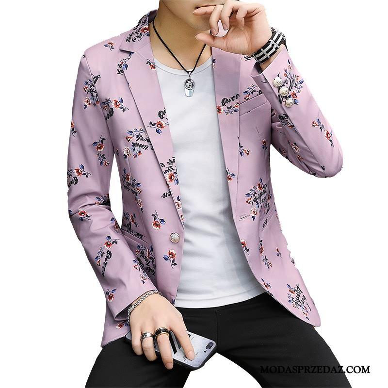Blazer Męskie Sklep Męska Casual Garnitur Vintage Slim Fit Różowy