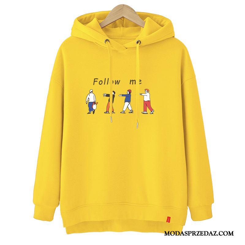 Bluza Z Kapturem Damskie Oferta Bluzy Z Kapturem Student Jesień Pullover Tendencja Żółty