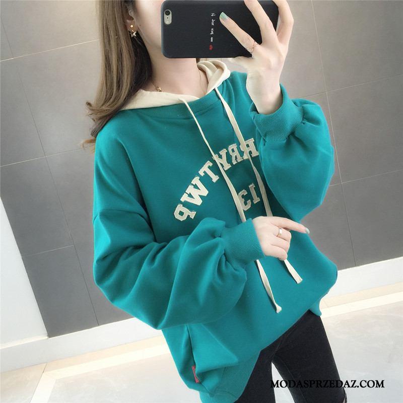 Bluza Z Kapturem Damskie Online Topy Alfabet Pullover 2019 Bluzy Z Kapturem Czysta Zielony