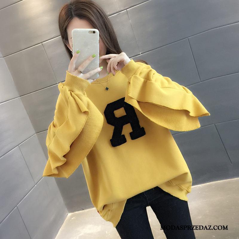 Bluza Z Kapturem Damskie Sklep Student Tendencja Moda Płaszcz Szerokie Żółty