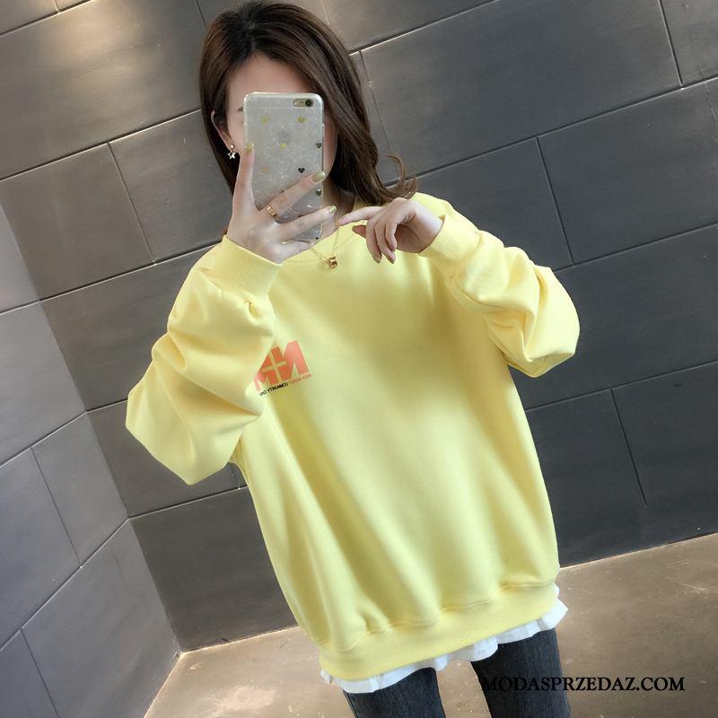 Bluza Z Kapturem Damskie Sklep Szerokie Jesień Płaszcz 2019 Tendencja Żółty