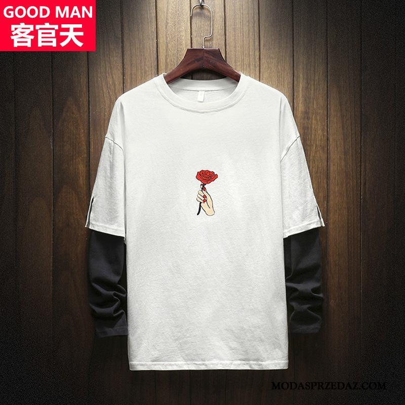 Bluza Z Kapturem Męskie Sprzedam Polo Jesień Tendencja T-shirt Okrągły Dekolt Róża Biały