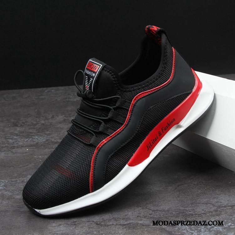 Buty Sportowe Męskie Tanie Wygodne Casual Płaskie Lato Trampki Czarny Czerwony