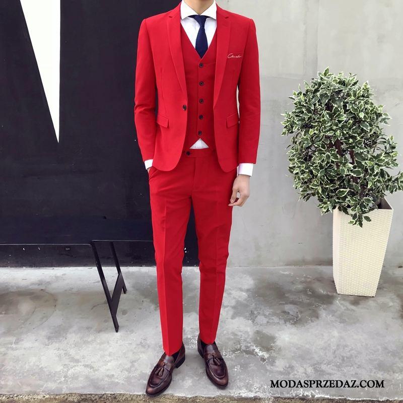 Garnitur Męskie Kup Piękny Modna Marka Biurowe Męska Pasować Jasny Czerwony