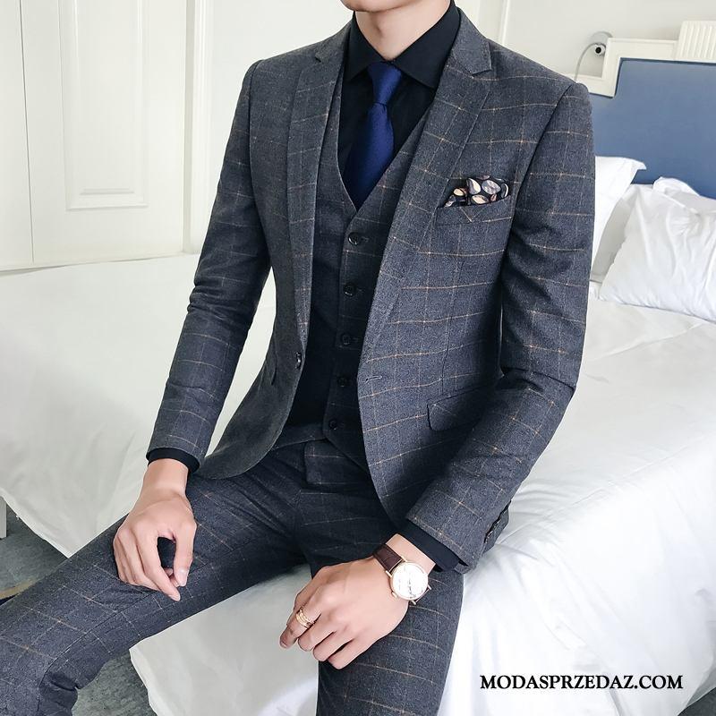 Garnitur Męskie Sklep Eleganckie Pokaz Moda Pasować Piękne Szary Jasny