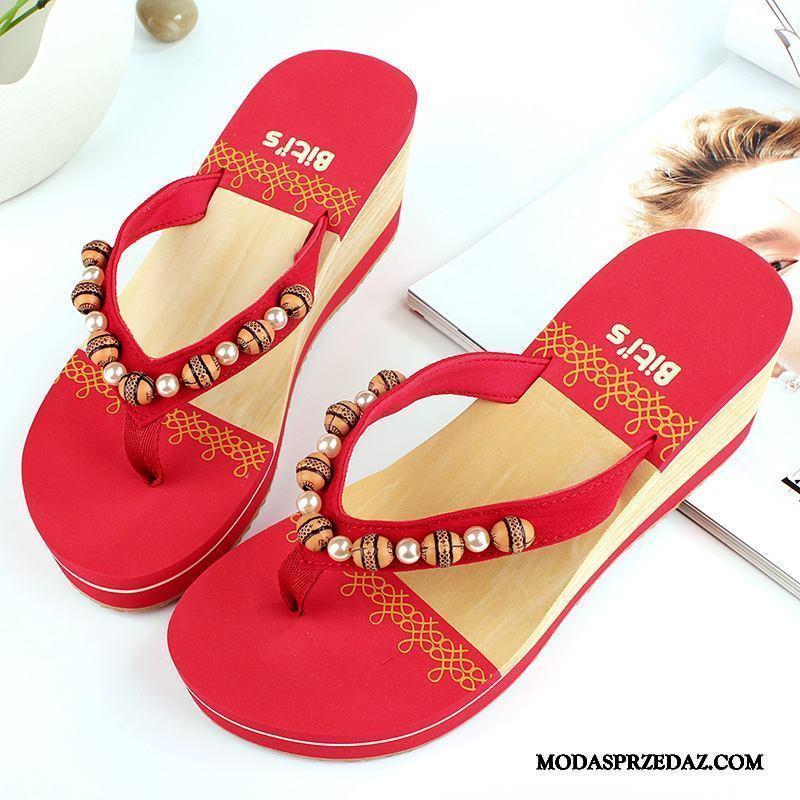 Japonki Damskie Kup Odzież Wierzchnia Lato Kapcie Plażowe Moda Czerwony