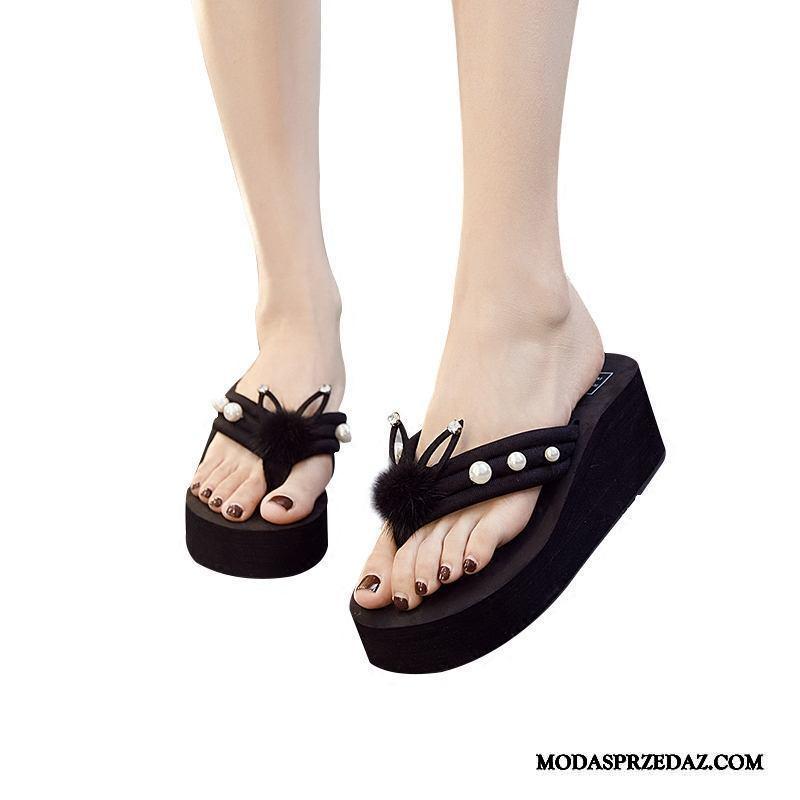 Japonki Damskie Sklep Buty Lato Odzież Wierzchnia Antypoślizgowe Buty Na Platformie Czarny Czerwony