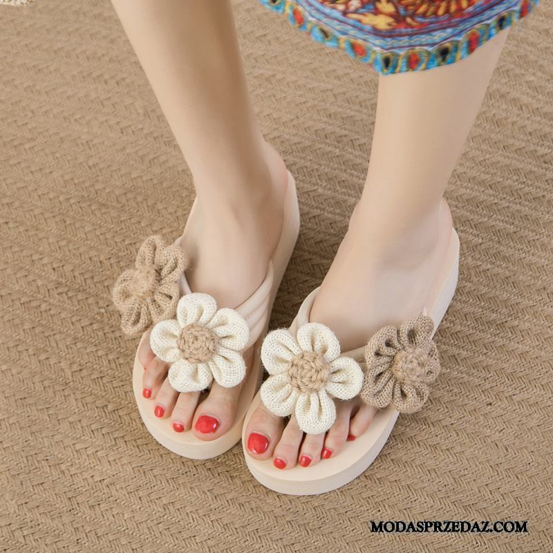 Japonki Damskie Sprzedam Wysokie Obcasy Kapcie Kwiaty Plażowe Odzież Wierzchnia Beżowy Biały