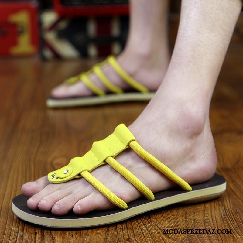 Japonki Męskie Kupię Casual Wewnątrz Kapcie Buty Plażowe Żółty