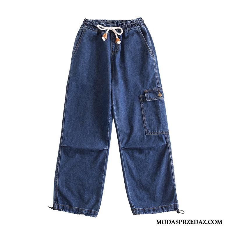 Jeansy Damskie Kup Szerokie Slim Fit Moda Dżinsy Casualowe Spodnie Ciemno Niebieski