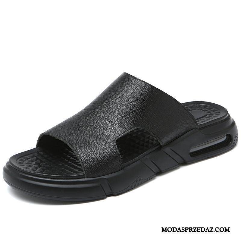 Kapcie Męskie Na Sprzedaż Lato Plażowe Skóra Osobowość Moda Czarny