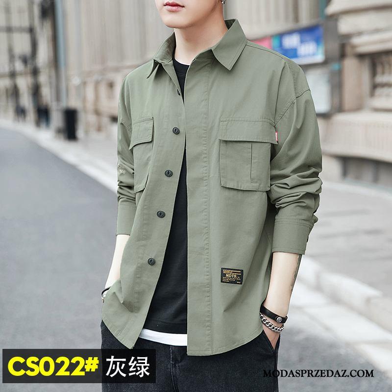 Koszula Męskie Dyskont Wiosna Krótki Rękaw Długi Rękaw Cargo Piękny Szary Zielony