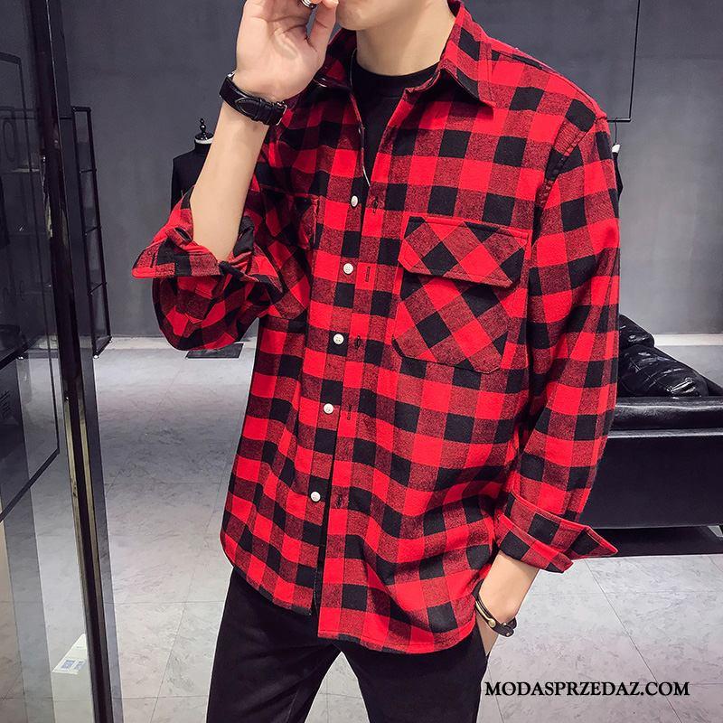 Koszula Męskie Kup Casual Wiosna Długi Rękaw Męska Krata Czerwony