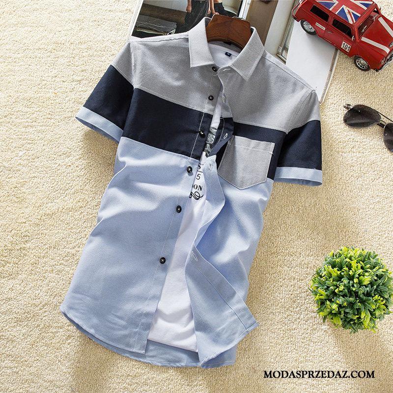 Koszula Męskie Kupię Piękny Student Slim Fit Koszula Z Krótkim Rękawem Tendencja Niebieski