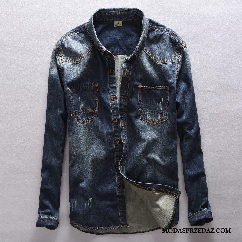 Koszula Męskie Kupię Vintage Płaszcz Męska Denim Tendencja Granatowy