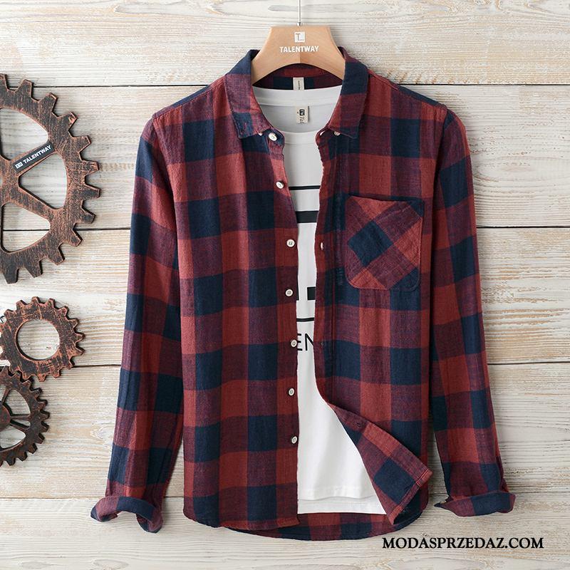 Koszula Męskie Na Sprzedaż Krata Męska Długi Rękaw Casual Płaszcz Czerwony