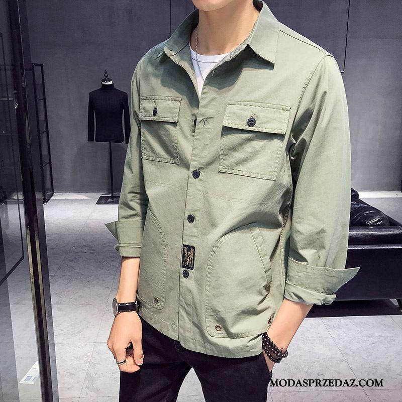 Koszula Męskie Na Sprzedaż Szerokie Męska Casual Cargo Piękny Zielony