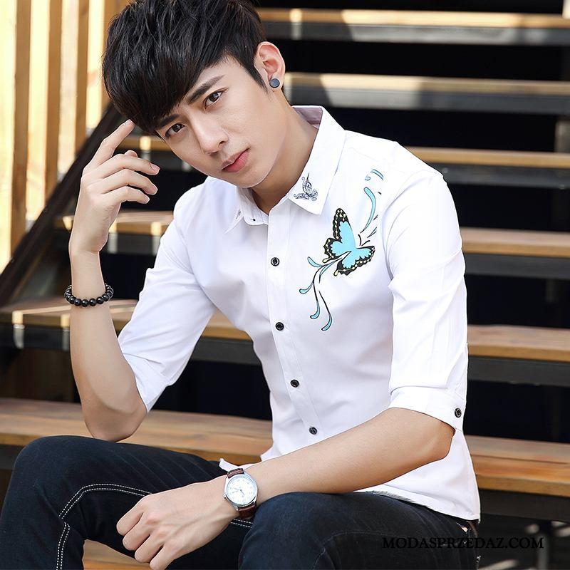 Koszula Męskie Na Sprzedaż Topy Młodzież Duży Rozmiar Pół Rękaw Cienka Biały