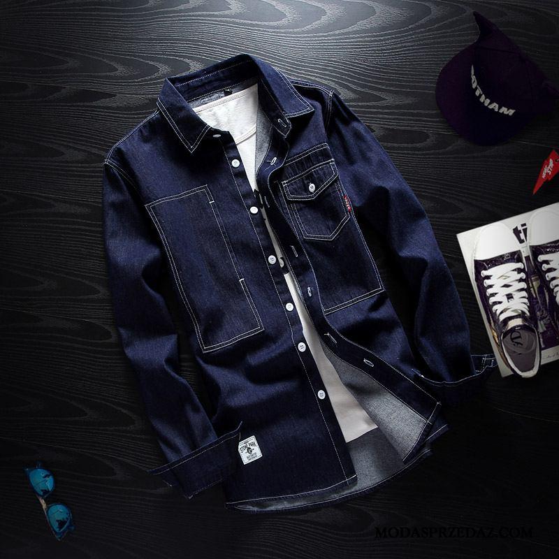 Koszula Męskie Online Casual Młodzież Tendencja Piękny Slim Fit Niebieski Czarny
