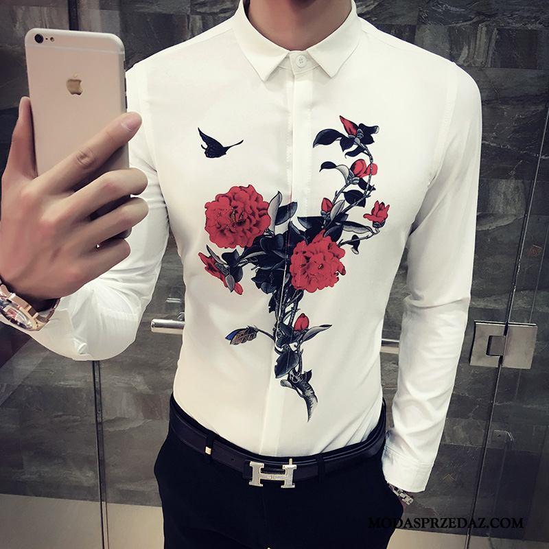 Koszula Męskie Sklep Casual Slim Fit Mały Kwiaty Topy Róża Biały