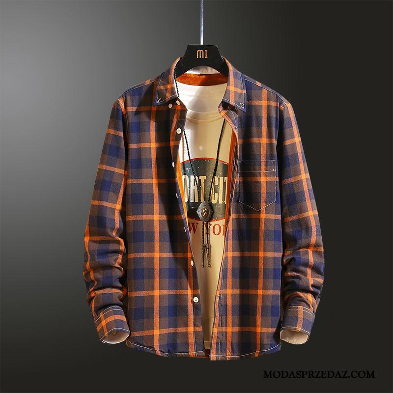 Koszula Męskie Sklep College Topy Wysoki Męska Tendencja Pomarańczowy