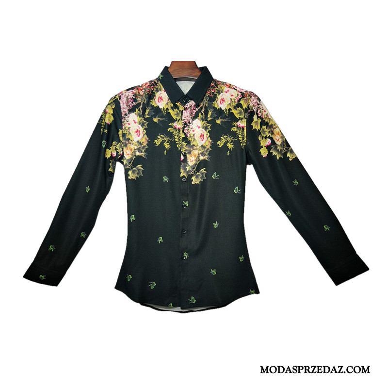 Koszula Męskie Sklep Osobowość Każdego Dnia Męska Długi Rękaw Młodzież Czarny
