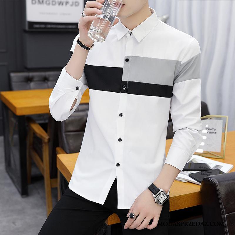 Koszula Męskie Sklep Szycie Casual Piękny Długi Rękaw Tendencja Biały