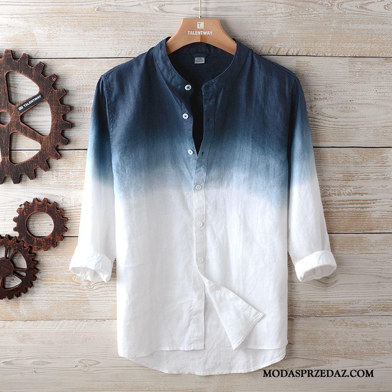 Koszula Męskie Sprzedam Bawełniane Krótki Rękaw Rękawy Gradient Szerokie Niebieski