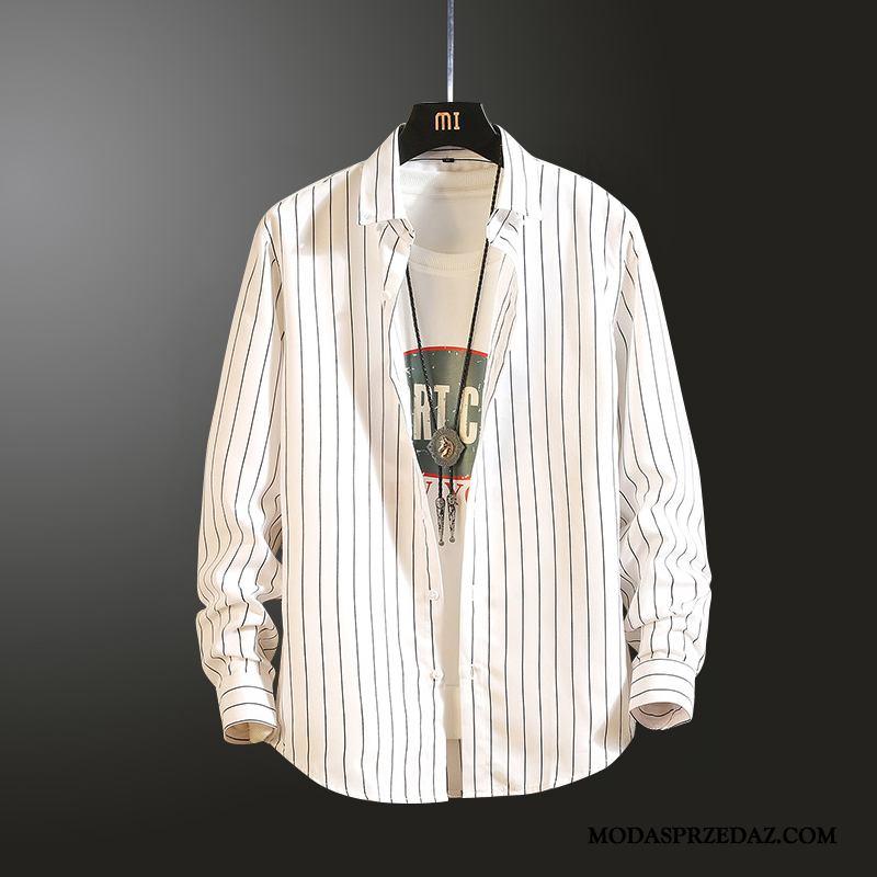 Koszula Męskie Sprzedam Tendencja Slim Fit Męska Vintage Długi Rękaw Niebieski Biały