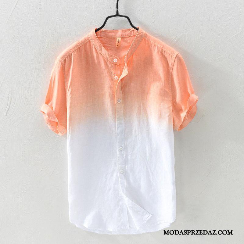 Koszula Męskie Tanie Bawełna I Len Młodzież Krótki Rękaw Męska Gradient Kolor Pomarańczowy