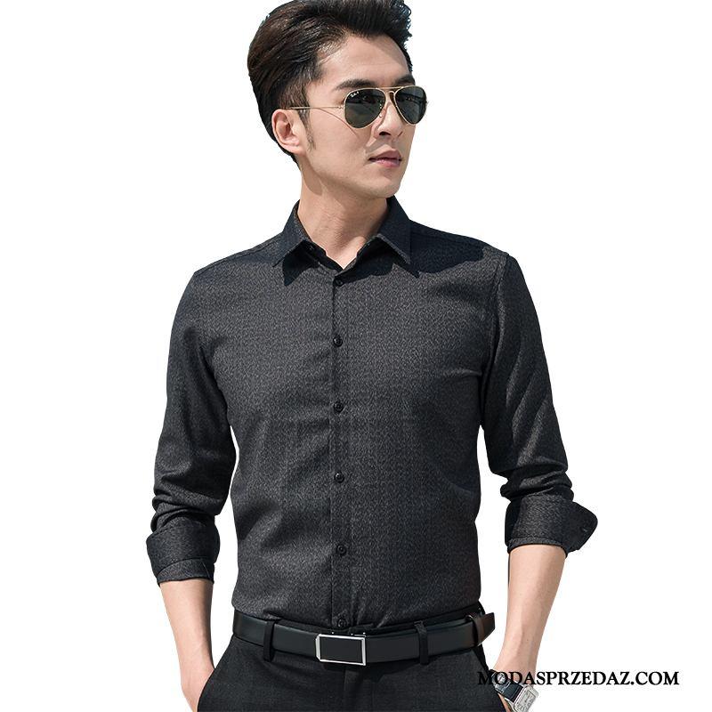 Koszula Męskie Tanie Slim Fit Młodzież Męska Casual Tendencja Czysta Biały Czarny