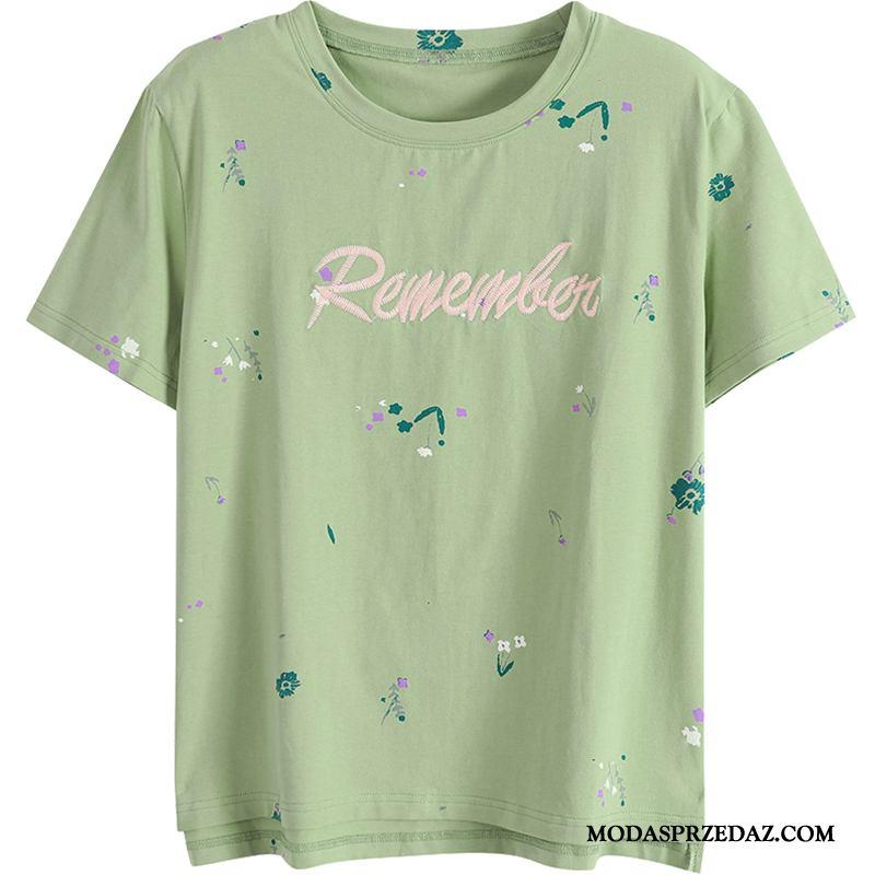 Koszulki Damskie Kupię Lato Szerokie Bawełna T-shirt Topy Zielony