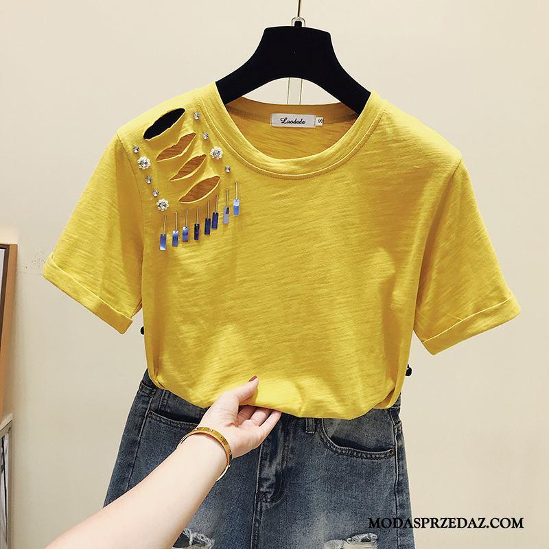 Koszulki Damskie Oferta Moda Topy Koronka Szerokie Krótki Rękaw Żółty