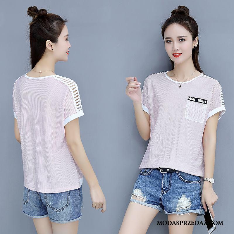 Koszulki Damskie Oferta Student Lato Sportowe Szerokie T-shirt Różowy