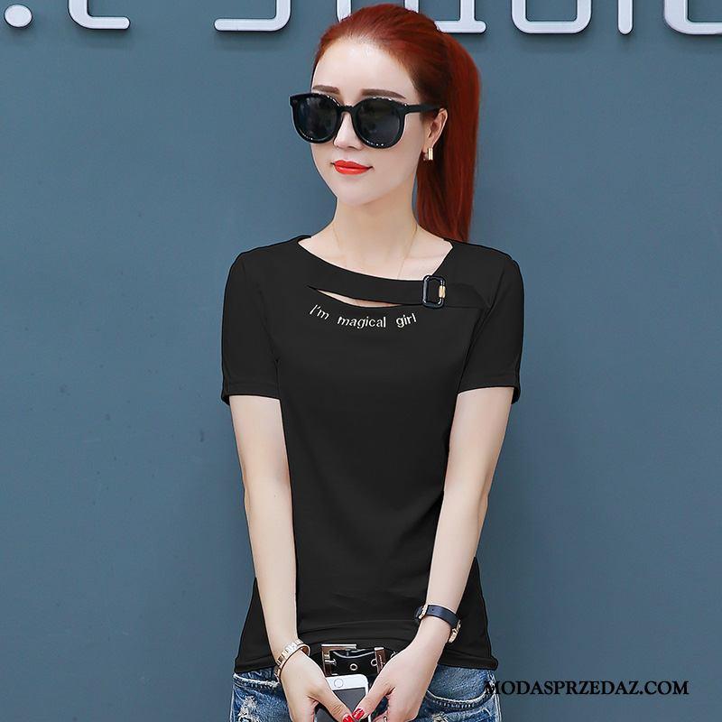 Koszulki Damskie Online Krótki Rękaw T-shirt Slim Fit Nowy Damska Czarny