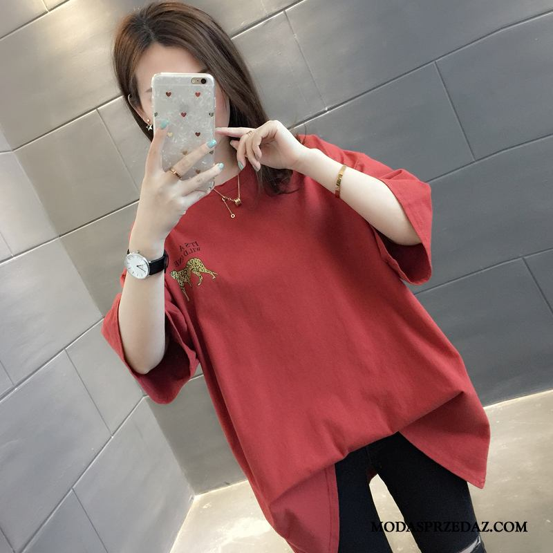 Koszulki Damskie Sklep Lato T-shirt Szerokie Damska Tendencja Czerwony