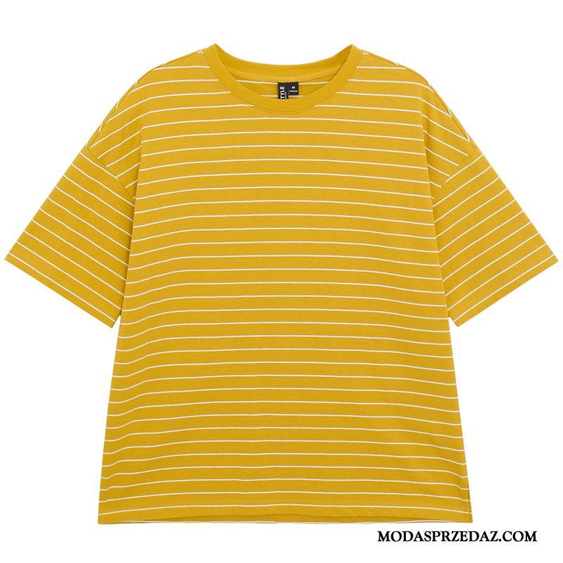 Koszulki Damskie Sprzedam Nowy Lato 2019 Szerokie Krótki Rękaw Żółty