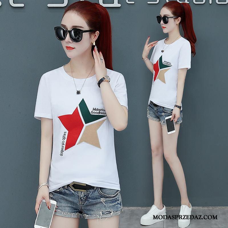 Koszulki Damskie Sprzedam Nowy Topy Slim Fit Krótki Rękaw Damska Biały
