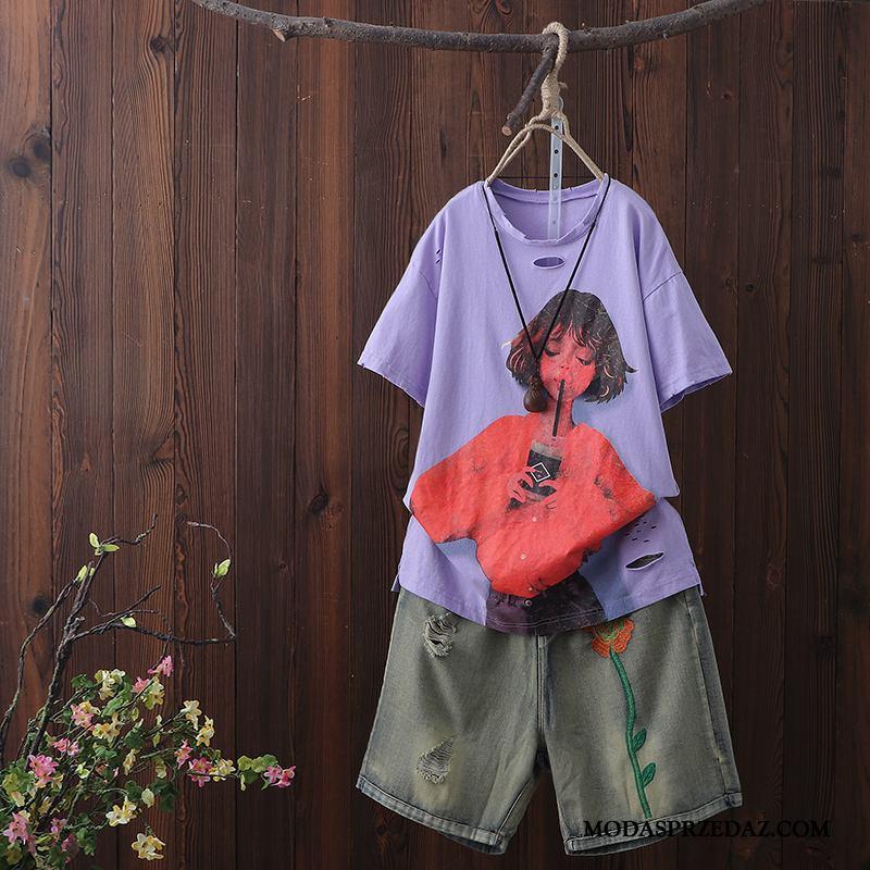 Koszulki Damskie Sprzedam T-shirt Nowy Legginsy Z Dziurami Krótki Rękaw Fioletowy