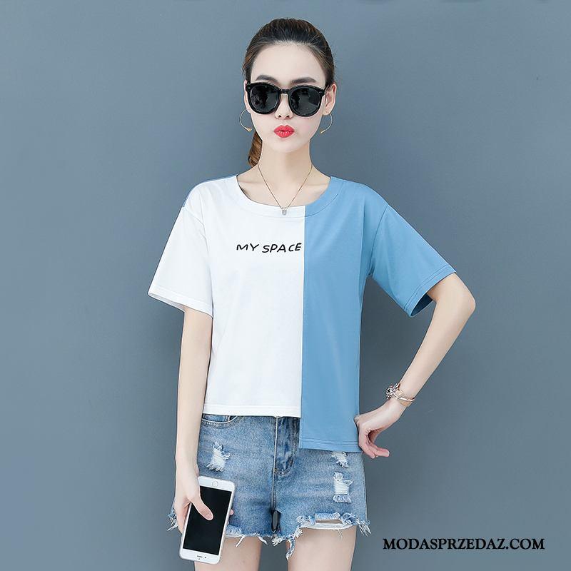 Koszulki Damskie Sprzedam Tendencja Damska Szerokie Cienkie Casual Niebieski