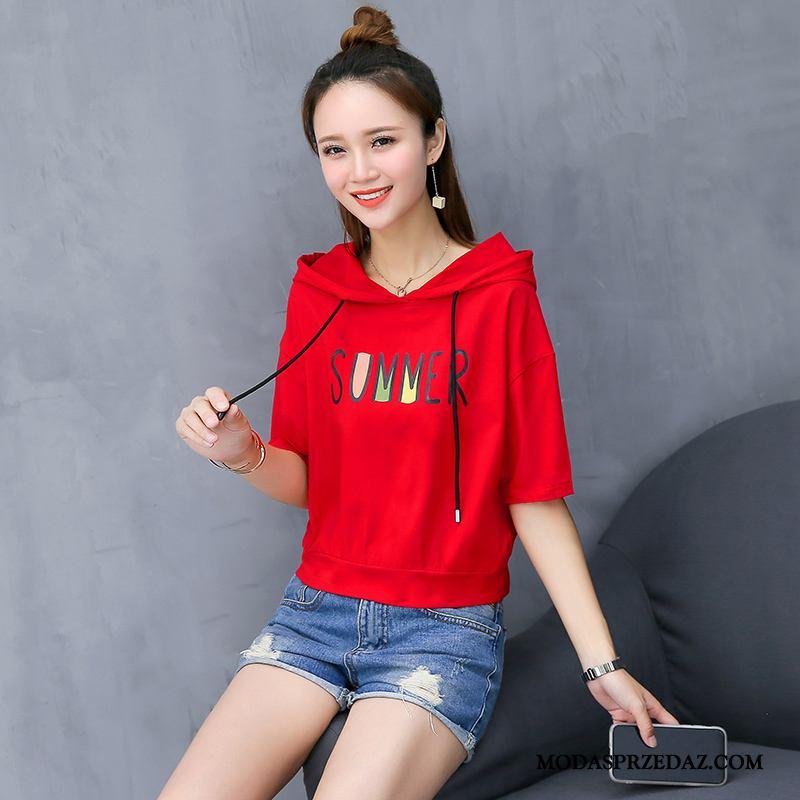 Koszulki Damskie Tanie Krótki Rękaw Topy Szerokie T-shirt Bawełna Czerwony