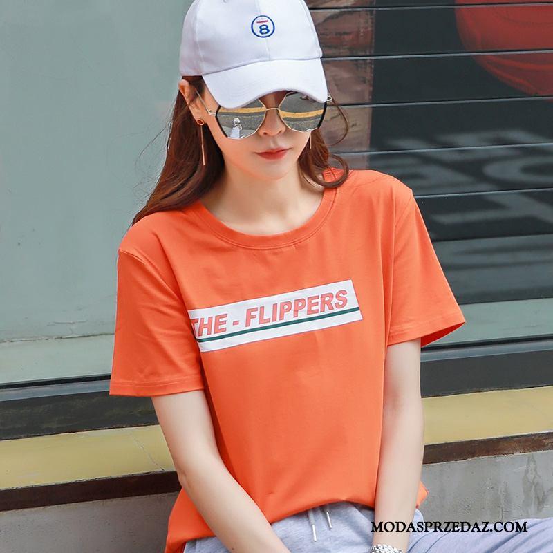 Koszulki Damskie Tanie Lato Damska Okrągły Dekolt T-shirt Krótki Rękaw Pomarańczowy Oranż