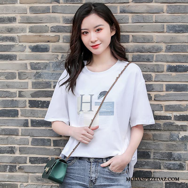 Koszulki Damskie Tanie Popularny Krótki Rękaw Tendencja Mały T-shirt Biały