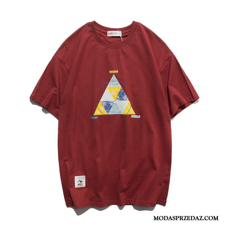Koszulki Męskie Kupię Męska Tendencja Geometria Drukowana T-shirt Oranż Czerwony