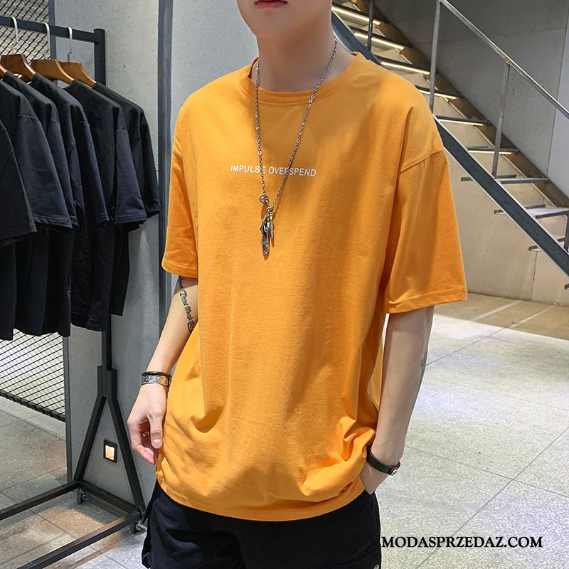 Koszulki Męskie Oferta Student Męska Bawełna Nowy Slim Fit Żółty