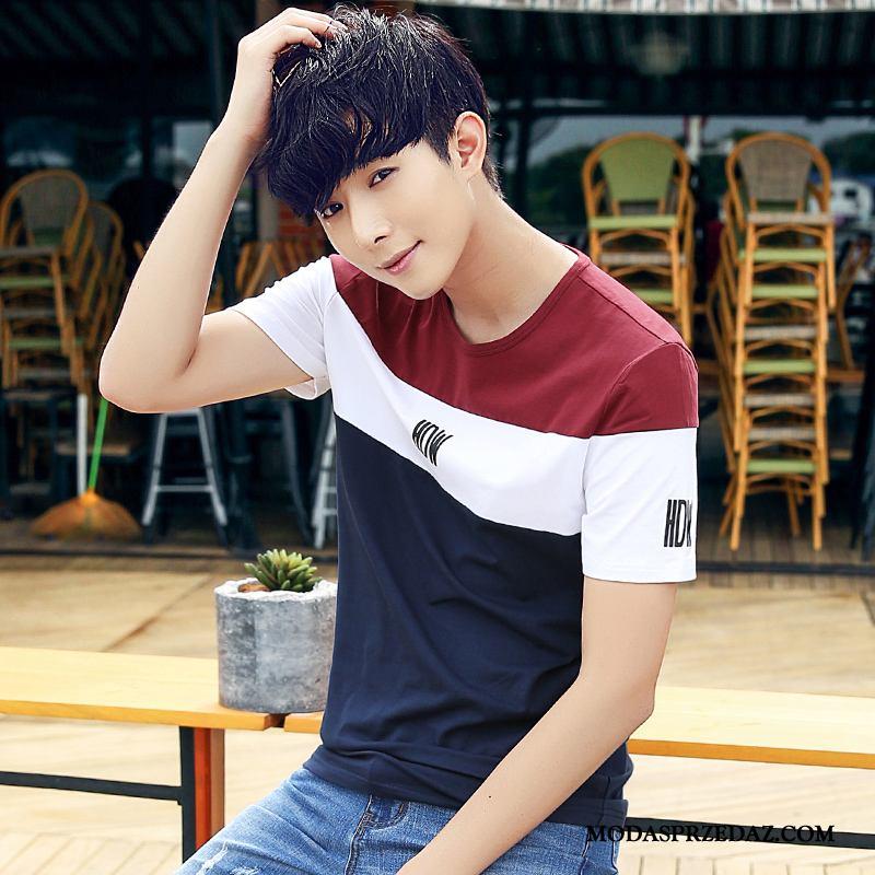 Koszulki Męskie Online Cienkie Krótki Rękaw Topy Lato Casual Mieszane Kolory Niebieski Biały Czerwony
