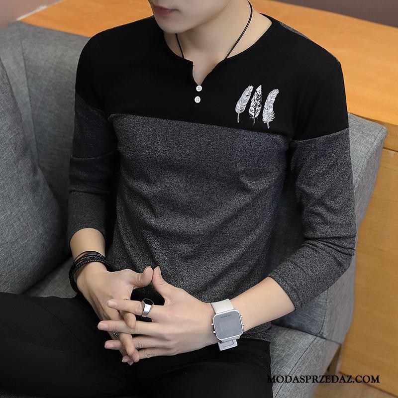 Koszulki Męskie Online Kolor Sweter Wiosna Legginsy Tendencja Szary