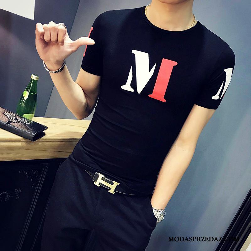 Koszulki Męskie Online Krótki Rękaw Męska Lato Modna Marka T-shirt Czarny Czerwony