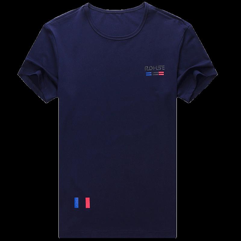 Koszulki Męskie Sklep Krótki Rękaw Okrągły Dekolt Bawełniane Szerokie Męska Granatowy