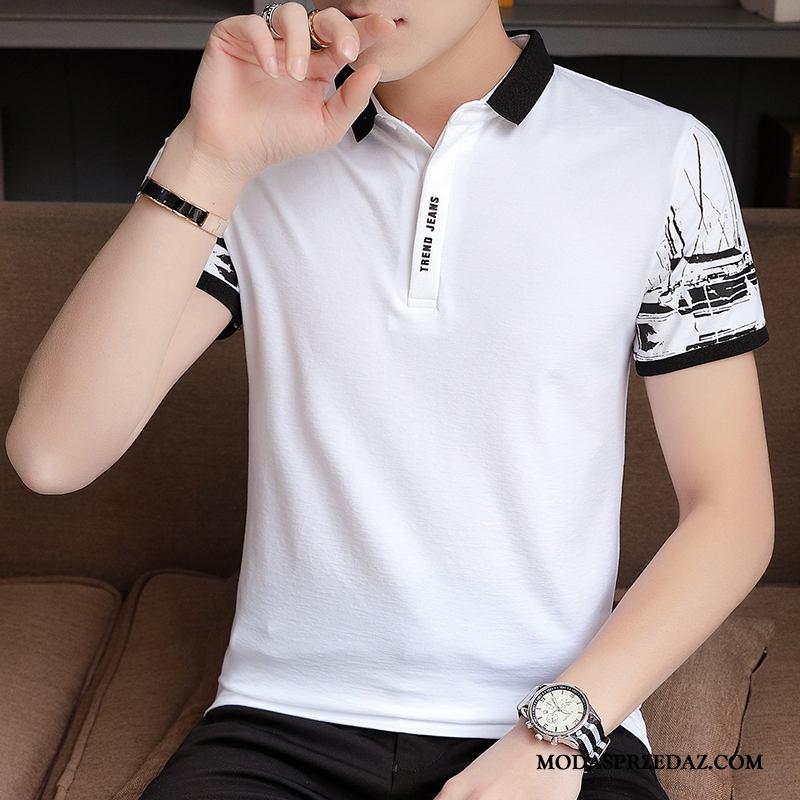 Koszulki Męskie Sprzedam Krótki Rękaw Tendencja Polo Klapa Nowy Biały